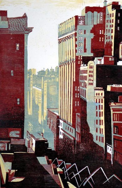 Vue du Faltiron - Bois gravé en 4 couleurs - 120x80 cm - 2010 - Collection particulière