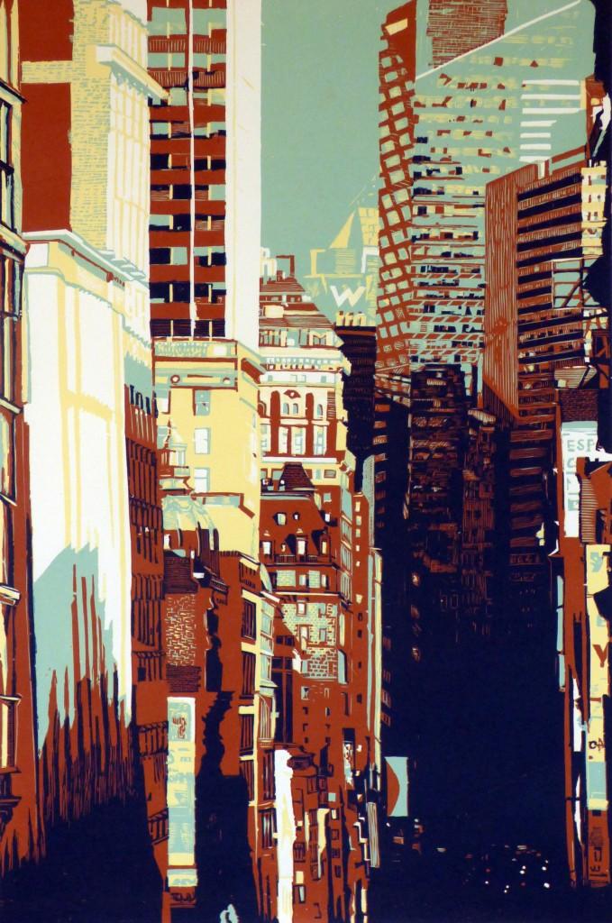 Gravure sur bois imprimée en quatre couleurs sur papier japon - 120 x 80 cm - 5 ex - 2014