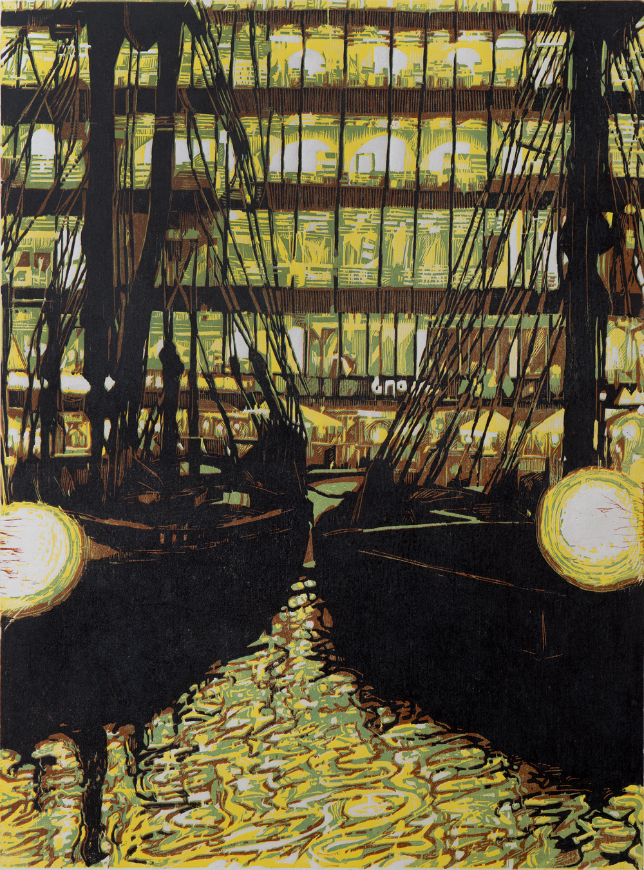 Pascale Hemery - St Katharine docks in the City - Xylogravure imprimée en quatre couleurs sur papier japon - 15 ex - 60 x 80 cm - 2013