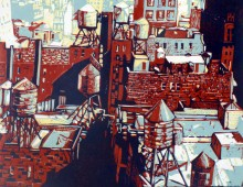 View from a window in manhattan – color lino