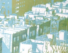 From the Heights – Color Linocut in blue