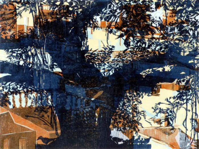 Gravure sur bois en 5 couleurs - 90 x 70 cm - Ep unique - 2014